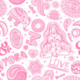 Beautifull seamless yoga pattern with ornaments Stock Image