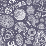 Beautifull seamless yoga pattern with ornaments Royalty Free Stock Images