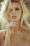 Beautifull sexy woman close-up portrait of blonde outdoor Royalty Free Stock Photo
