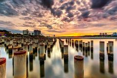 Beautifull sunrise at abandone construction pole Stock Photography