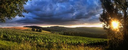 Sunset over Czech Highlands stock photography
