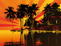 Beautifull sunset on a island. Vector illustration Stock Photos