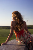Beautifull teenage girl looking into the distance Stock Photo