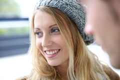 Beautifull trendy blond woman smiling Royalty Free Stock Images