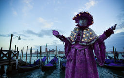 Beautifull Venetian masked model from the Venice Carnival 2015 Royalty Free Stock Photography