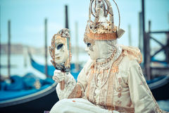 Beautifull Venetian masked model from the Venice Carnival Royalty Free Stock Photography