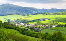 Beautifull view on little village in slovakia. Small village in hills. Stock Images