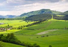 Beautifull view on little village in slovakia. Small village in hills. Royalty Free Stock Photo