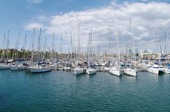 Beautifull view of yachts parking in harbor, Barselona, Spain stock photo