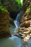 Beautifull waterfall is in Western Caucasus Stock Photo