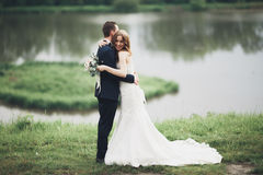Beautifull wedding couple kissing and embracing near lake with island Royalty Free Stock Photography