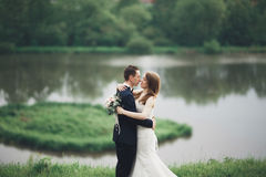 Beautifull wedding couple kissing and embracing near lake with island Stock Images