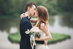 Beautifull wedding couple kissing and embracing near lake with island Stock Photography