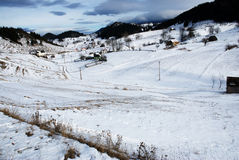 Beautifull winter landscape. Carpathian mountains, Fundata Stock Photos
