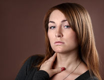 Beautifull woman. Beautifull young red woman in studio royalty free stock image