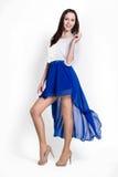 Beautifull woman in blue dress Royalty Free Stock Photos