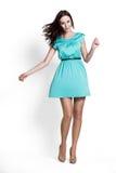 Beautifull woman in blue dress Stock Photography