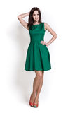 Beautifull woman in green dress royalty free stock image