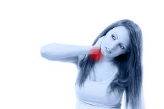 Beautifull woman  holding her neck because of pain isolated Royalty Free Stock Images