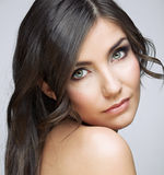 Beautifull woman with long brown hair. Stock Images