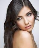Beautifull woman with long brown hair. Stock Photo