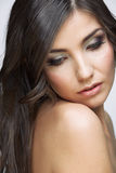 Beautifull woman with long brown hair. Royalty Free Stock Photography