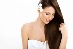 Beautifull Woman with Long Hair Stock Images