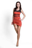 Beautifull woman in red dress royalty free stock images