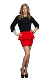 Beautifull woman in red skirt Royalty Free Stock Photography