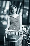 Beautifull woman with shopping cart Stock Image