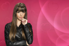 Beautifull woman valentines day backround. Pink royalty free stock images