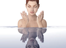 Beautifull woman in water with ripples Stock Photos