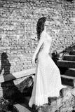 Beautifull woman in white dress posing outdoor Royalty Free Stock Photos