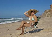 Beautifull young lady on the beach Royalty Free Stock Photo