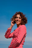 Beautifull young women talking on mobile phone Stock Photos