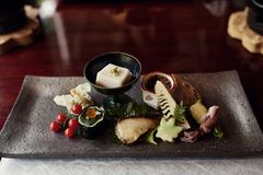 Beautifully arranged Kaiseki tofu course in Japan royalty free stock photo