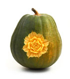 Beautifully carved flower on pumpkin Royalty Free Stock Photos