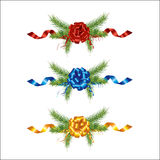 Beautifully christmas pine and ribbon Royalty Free Stock Photos