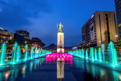 Beautifully color water fountain at Gwanghwamun Plaza with the statue of the Admiral Yi Sun-sin in downtown. Stock Photo