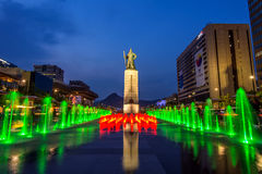 Beautifully color water fountain at Gwanghwamun Plaza with the statue of the Admiral Yi Sun-sin in downtown. Royalty Free Stock Photography