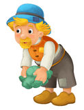 Beautifully colored cartoon character - older farmer standing and on the ground and looking ahead - lifting up cabbage or lettuce Stock Photos