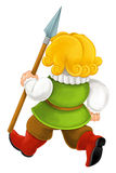 Beautifully colored cartoon character - young castle knight walking and guarding - armed with spear -. Happy and colorful traditional illustration for children Royalty Free Stock Photos