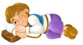 Beautifully colored cartoon character - young man pretending to sleep -  Stock Photo