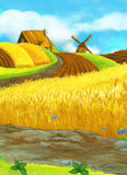 Beautifully colored farm scene - rural - village Stock Photo