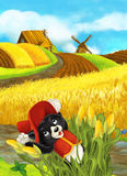 Beautifully colored scene with cartoon character - cat traveler is jumping out of the corn - corn field in the background Royalty Free Stock Images