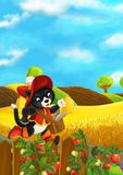 Beautifully colored scene with cartoon character - cat traveler running somewhere - fields in the background Stock Photos