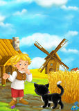 Beautifully colored scene with cartoon character - man standing and talking to cat- windmill in the background Royalty Free Stock Photo