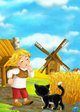 Beautifully colored scene with cartoon character - man standing and talking to cat- windmill in the background Stock Image