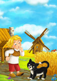 Beautifully colored scene with cartoon character - man standing and talking to cat- windmill in the background Stock Photography