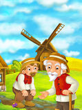 Beautifully colored scene with cartoon character - old man standing and talking or greeting someone or son - windmill Stock Photography